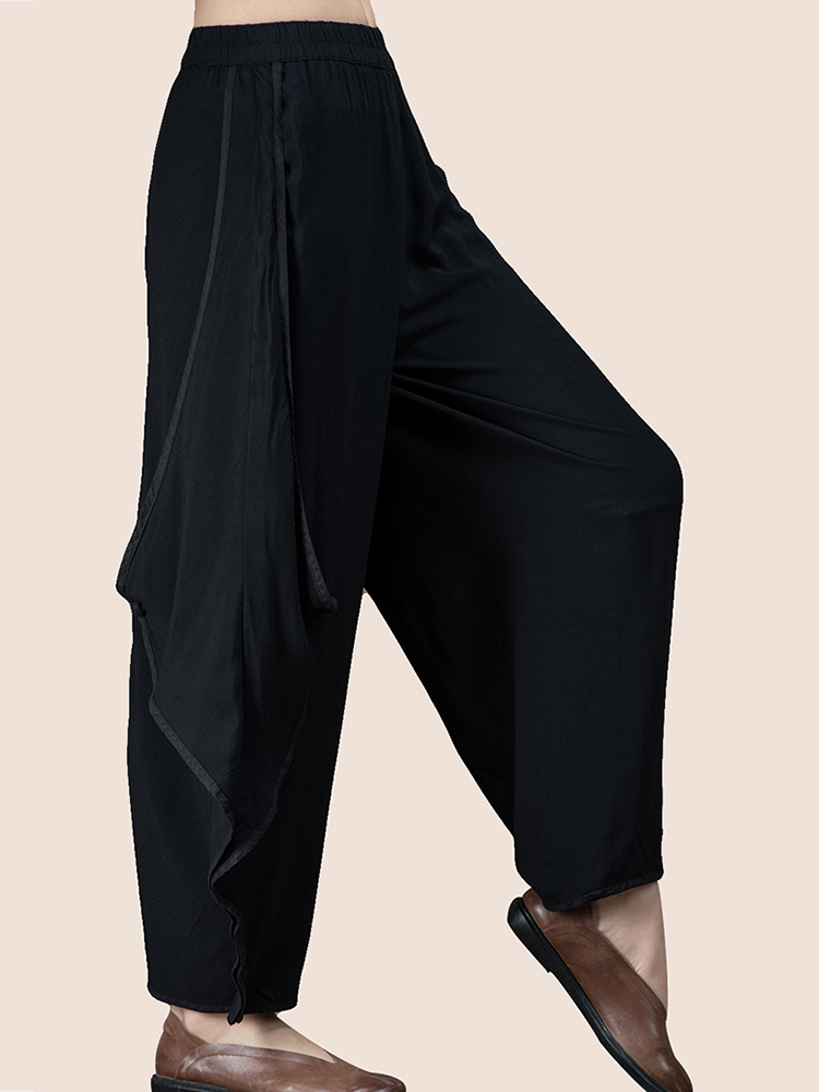 Women Elastic Waist Wide Leg Pants
