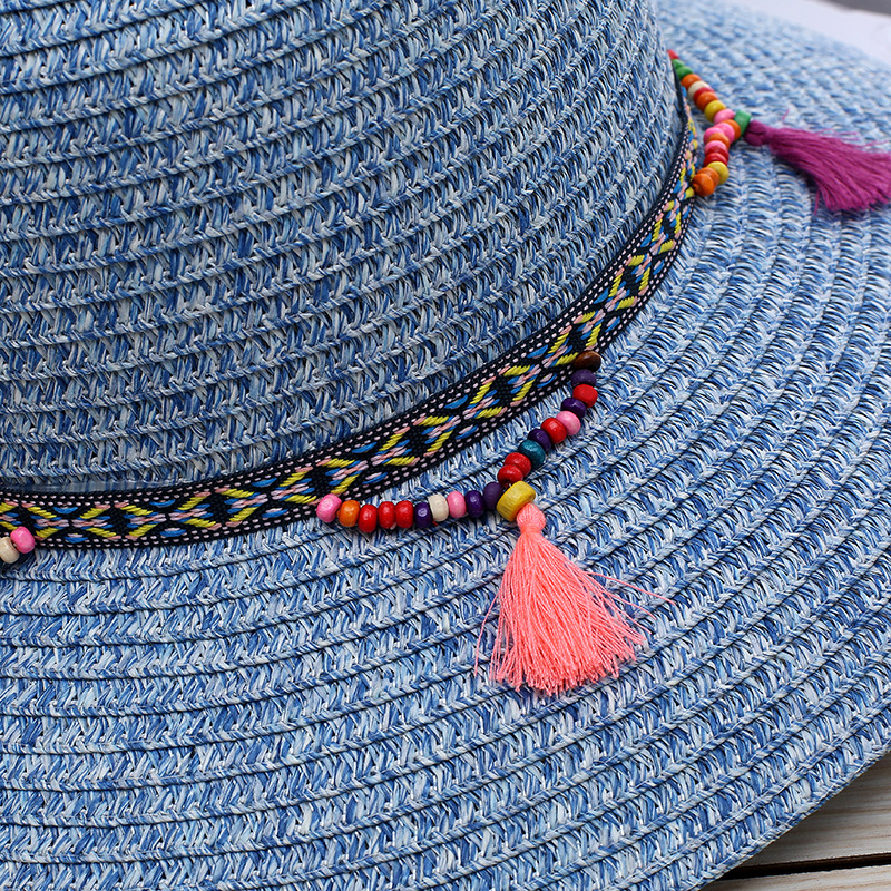 Women Summer Wide Birm Sunshade Tassel Bucket Hat Casual Floppy Straw Beach Hat