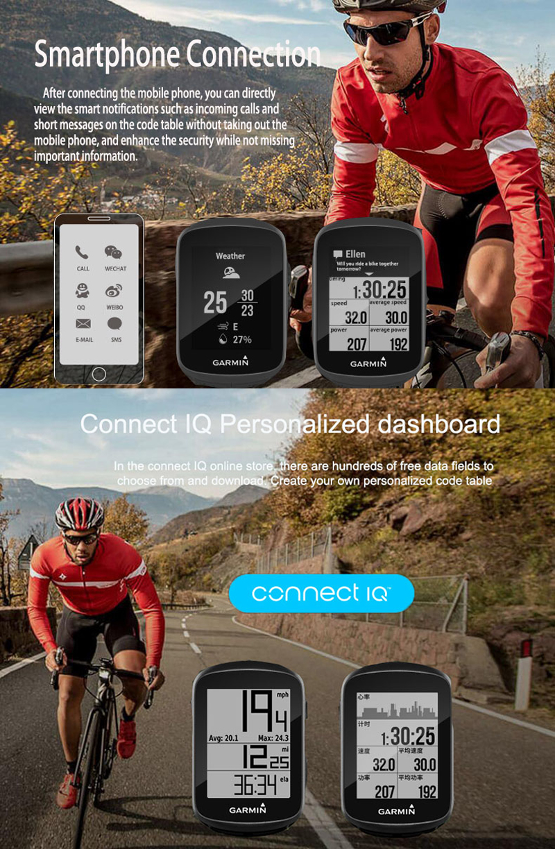 GARMIN Edge130 1.8inch Black and White Screen Wireless Bicycle GPS Smart Stopwatch Bike Computer