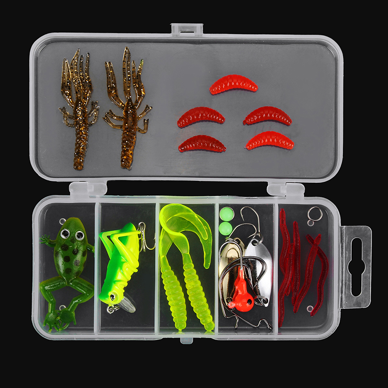 24/72/83Pcs/Set Soft Hard Fishing Lure With Box Set Small Lure Bass Crank Bait Hooks Kit