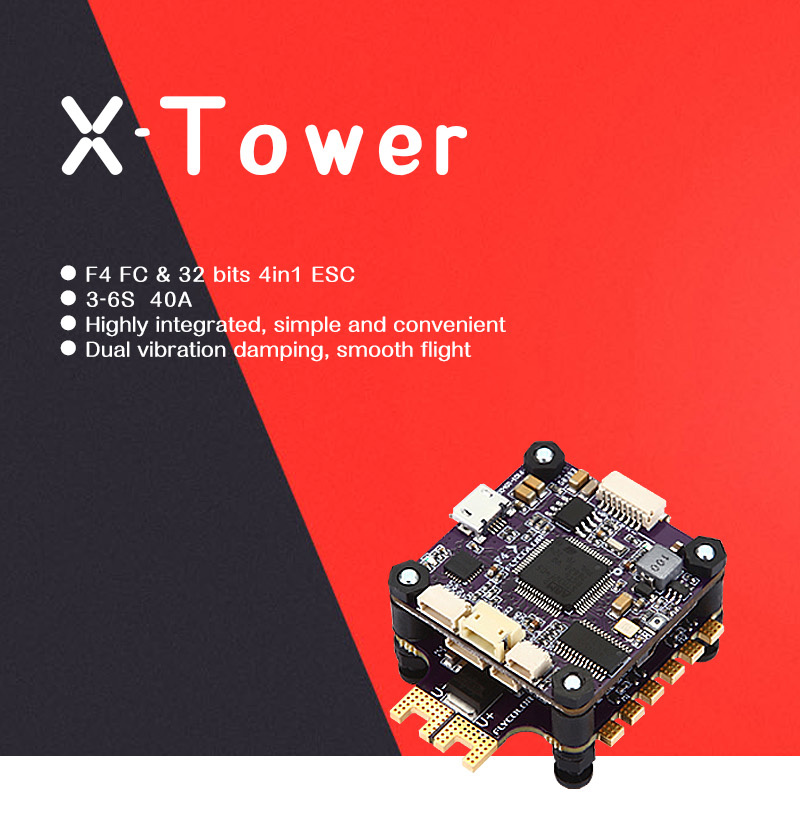 Flycolor X-Tower F4 Flight Controller OSD + 40A BLHeli_32 4 IN 1 3-6S ESC Dshot1200 Current Sensor