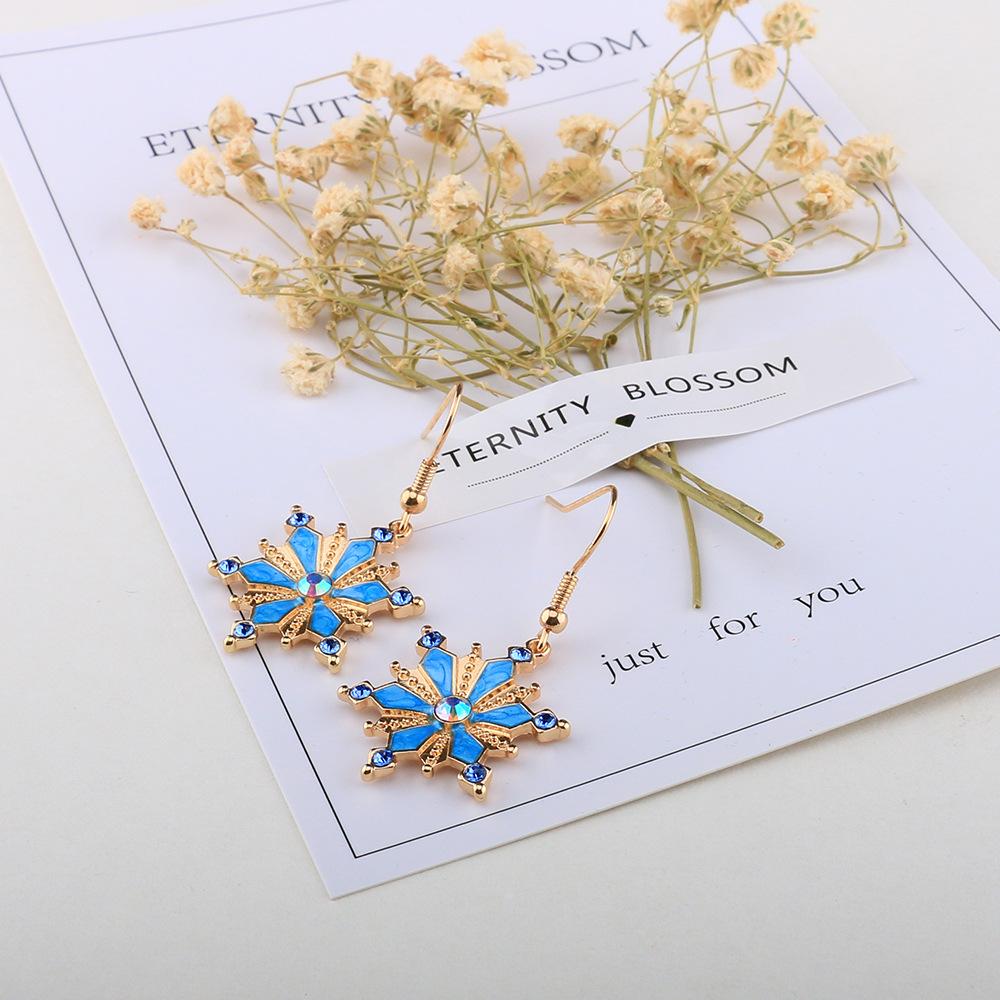 Bohemian Turquoise Rhinestones Flower Dangle Earring