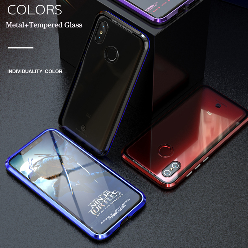 Bakeey 360° Magnetic Adsorption Metal Glass Upgraded Version Protective Case for Xiaomi Mi8 Mi 8