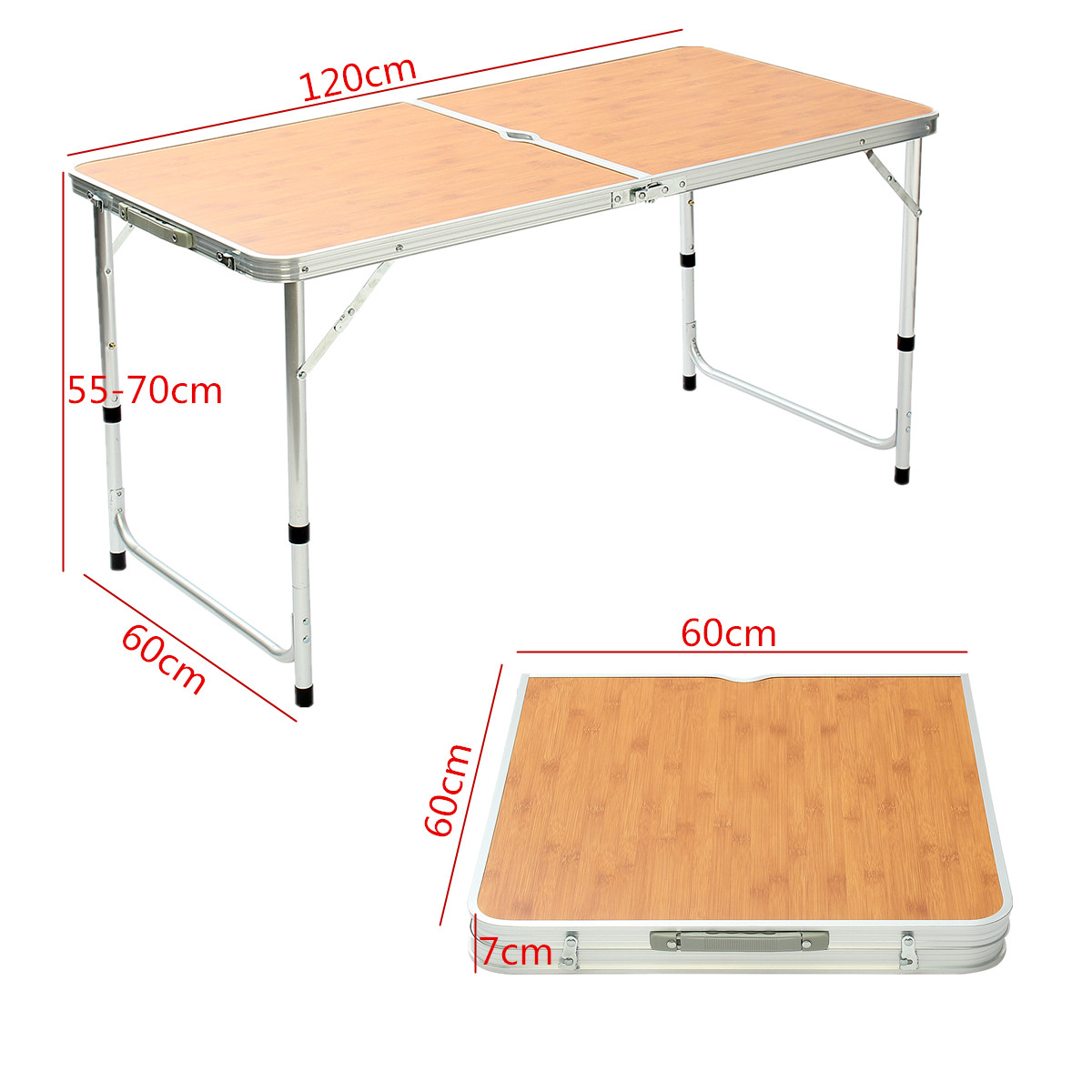 120cm Aluminum Alloy Adjustable Table Outdoor Garden Portable Camping Picnic BBQ Folding Table