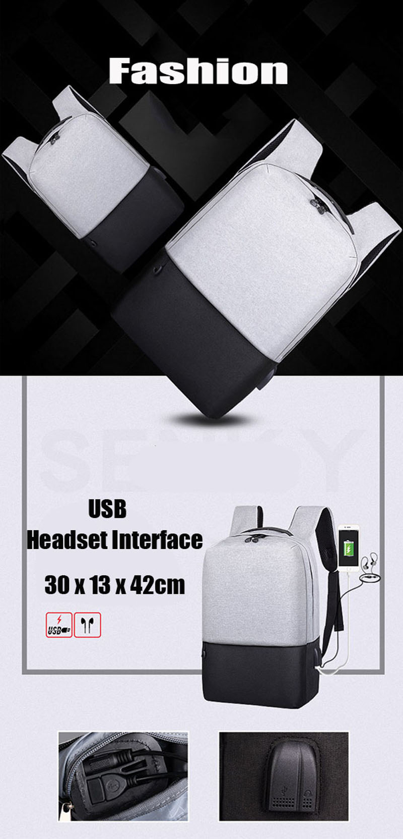 IPRee 14inch Laptop Bag USB Charging Anti-theft Backpack Travel Oxford Cloth Waterproof Package