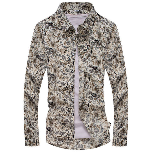 Floral Printing Spring Autumn Fashion Casual Long-sleeved Men Cotton Shirt S-3XL