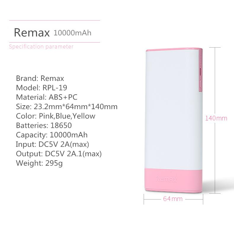 REMAX RPL-19 10000mAh DC5V 2.1A Power Bank for Mobile Phone