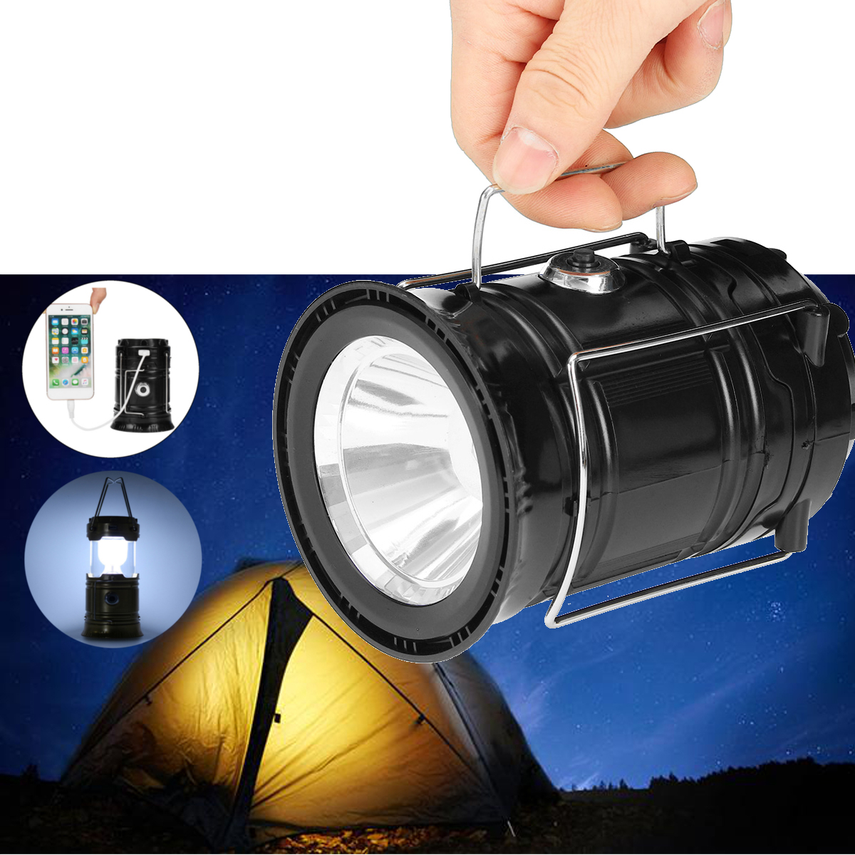 3W 5LED USB Solar Light Rechargeable Camping Tent Emerg