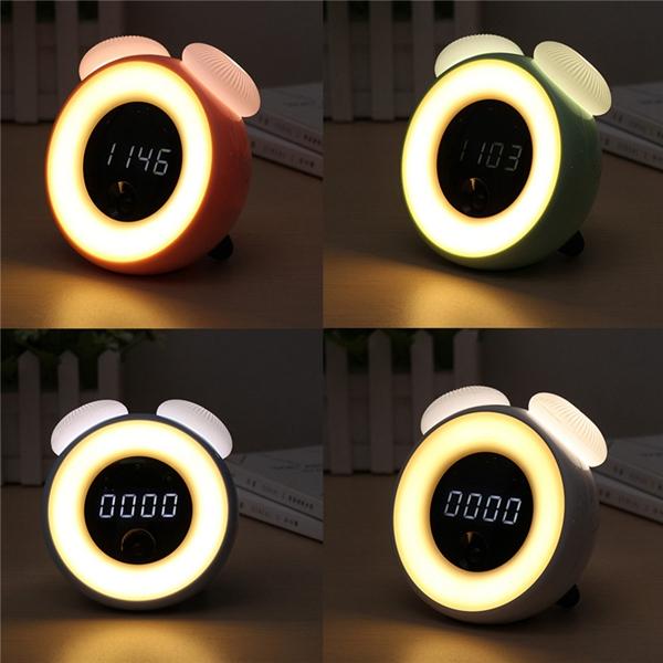 Intelligent Sensor Mushroom Lamp Colorful LED Night Light Light-controlled Alarm Clock Gift