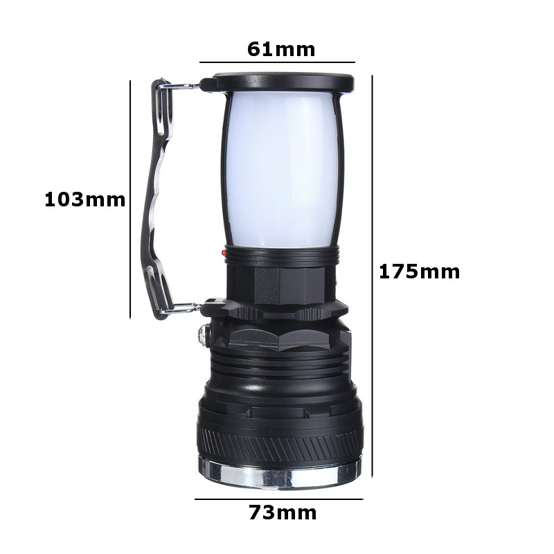 ZANLURE Solar LED Flashlight USB Charge Lamp Outdoor Camping Fishing Emergency Lantern Light