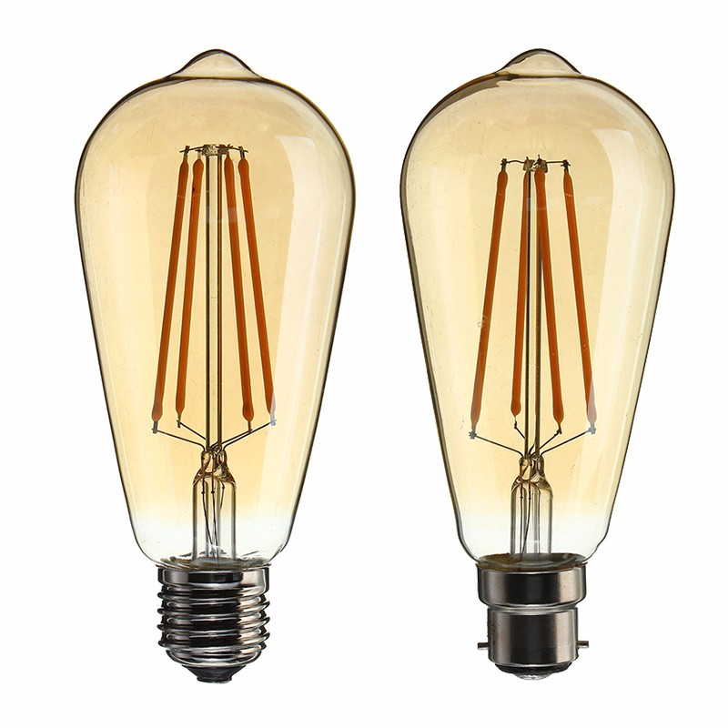 B22/E27 Dimmable ST64 LED 4W Vintage Globe Cage Edison Filament Light Bulb Lamp AC220V