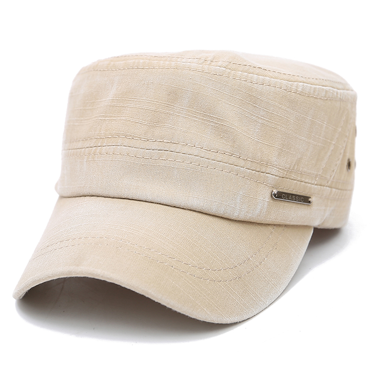 Mens Cotton Plain Flat Vintage Cadet Solid Washed Cap Air Hole Stitching Retro Hats