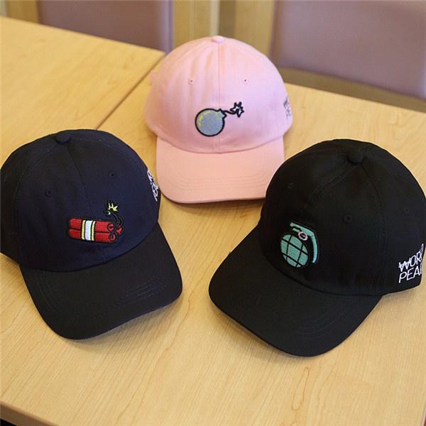 Women Unisex Bomb Embroidery Cotton Baseball Cap Sport Curved Snapback Hip-hop Cap