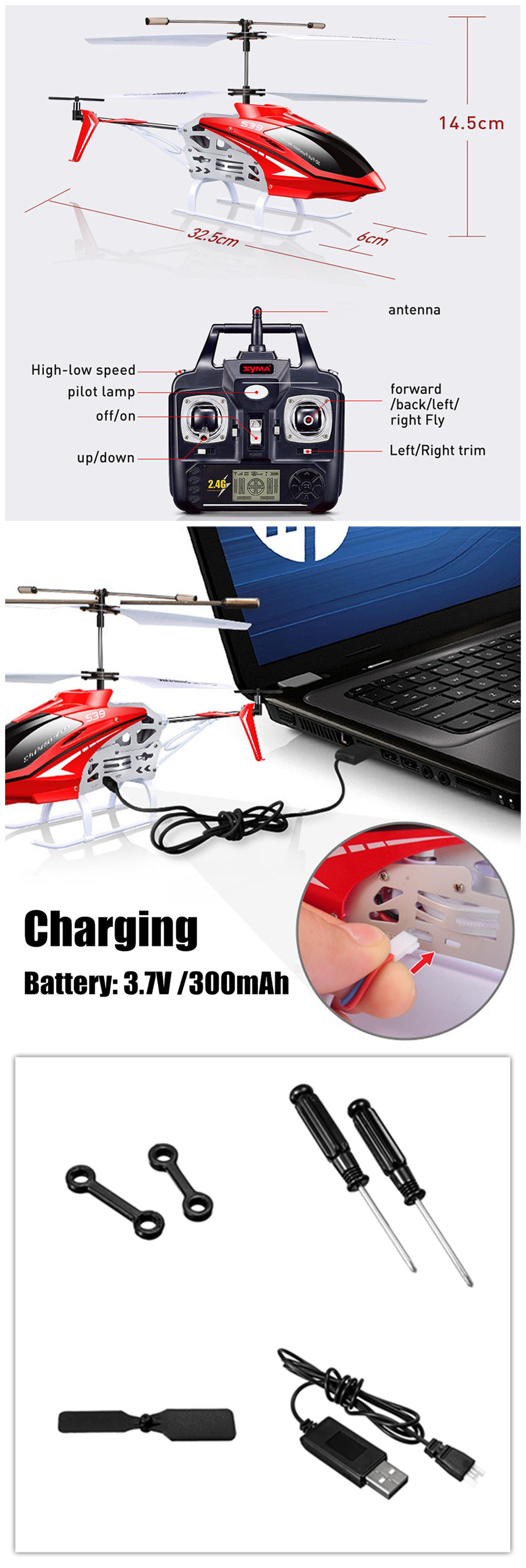 SYMA S39 2.4G 3CH Remote Control Mini RC Helicopter With Controller RTF Kids Toy