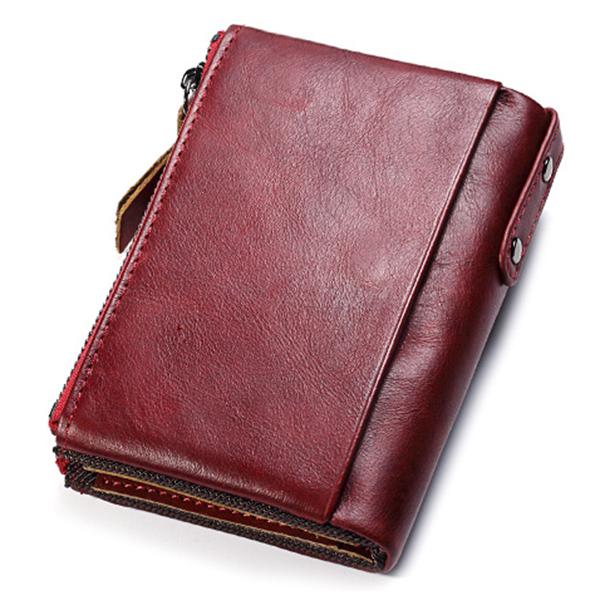 Men Women Genuine Leather Retro Card Holder Bifold Wallet