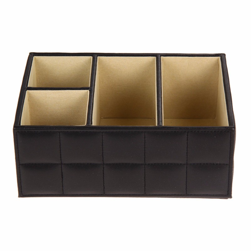 Luxury PU Leather Remote Control Phone Holder Organizer Storage Box