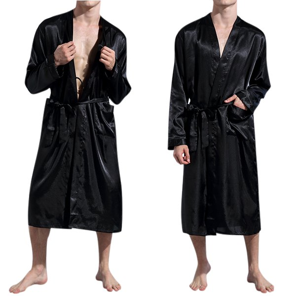 Mens Casual Solid Color Robe Thin Spring Autumn Polyester Sleepwear