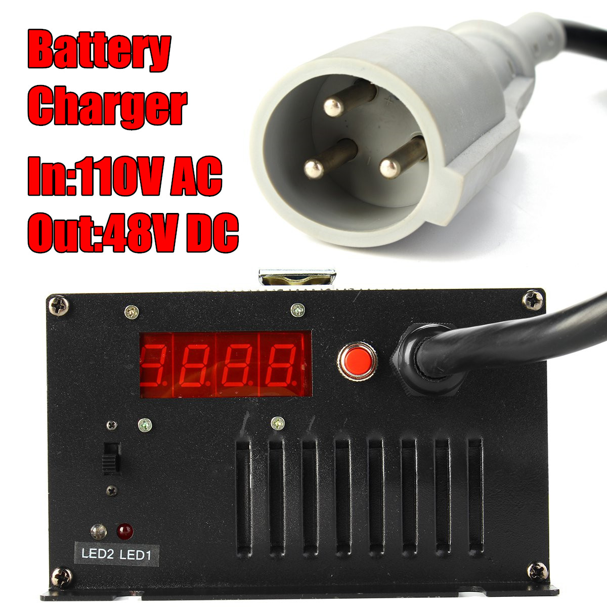 900W 48V 15 AMP Club Car Golf Cart Battery Charger 3 Pin Round Charger