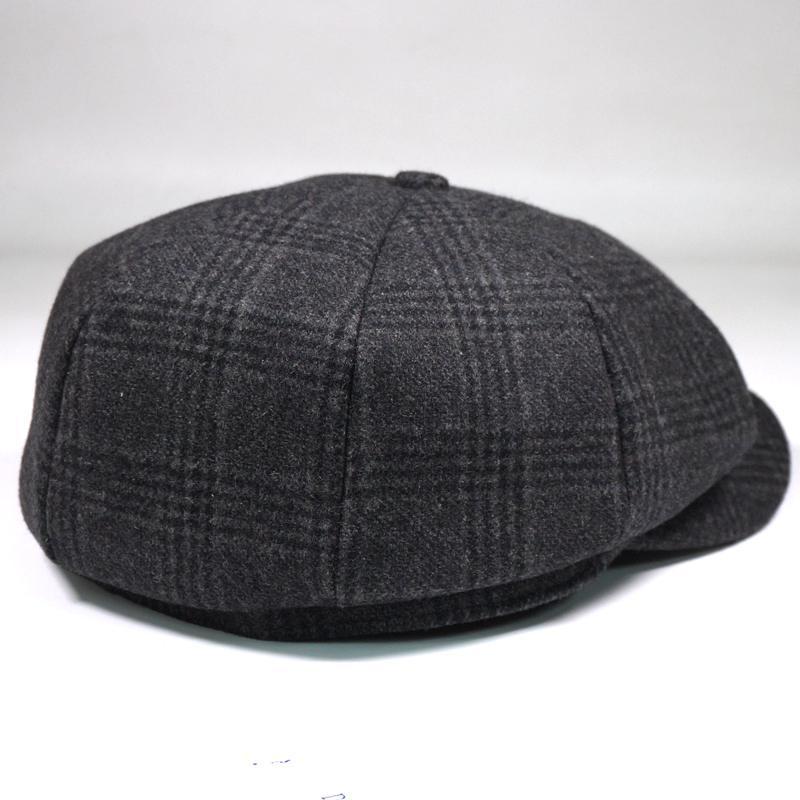 Men Vintage Winter Warm Wool Gird Beret Hat