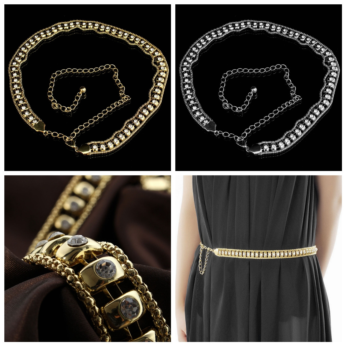 Rhinestone Crystal Shiny Charm Women Belt Waist Chain Body Necklace
