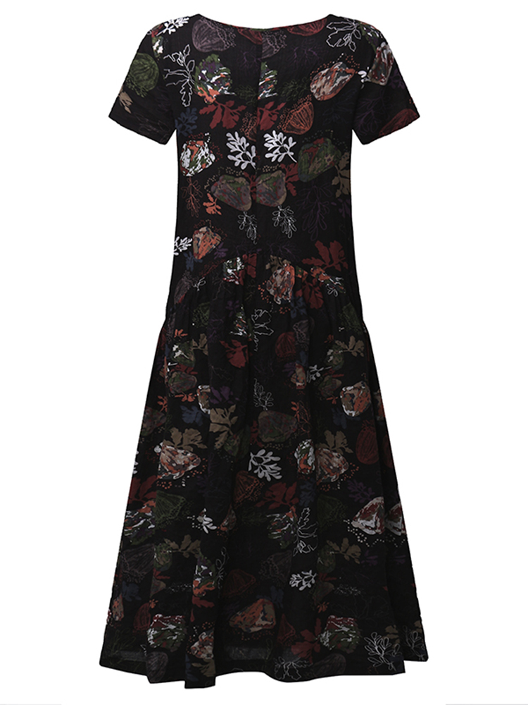 Vintage Random Floral Printed Short Sleeve O-Neck Pleated Mori Girl Dresses