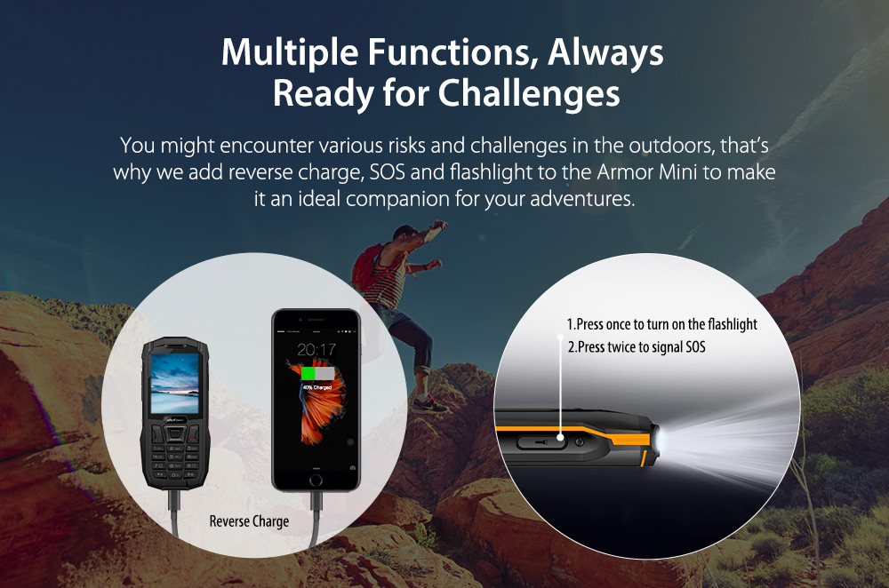 Ulefone Armor Mini 2.4'' IP68 2500mAh Power Bank bluetooth Dual SIM Card Waterproof Feature Phone