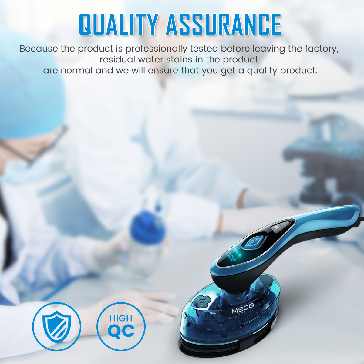 MECO ELEVERDE 2 In 1 1500W LCD Handheld Garment Steamer Ceramic Steam Iron Clothes Temp Adjustable Wrinkle Remover