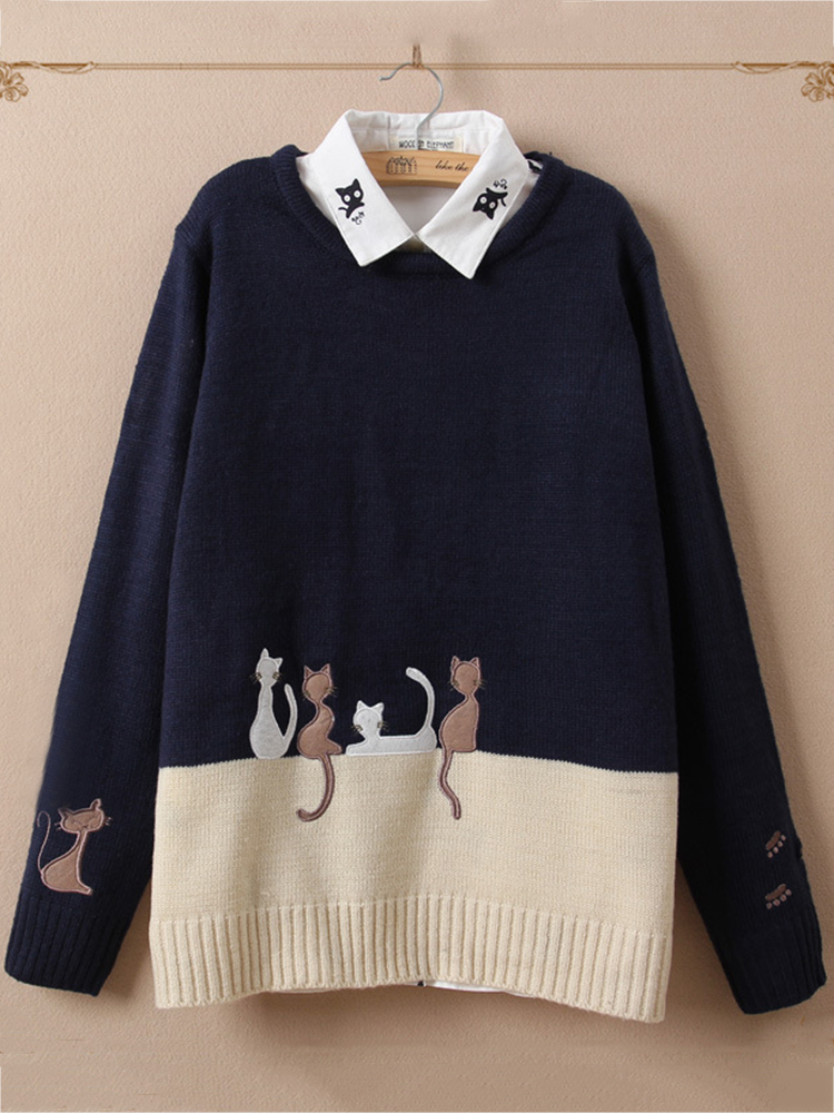 Casual Women Cat Color Patchwork O-Neck Sweaters