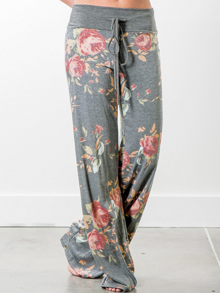 Casual Loose Floral Printed High Waist Women Drawstring Wide Leg Pants