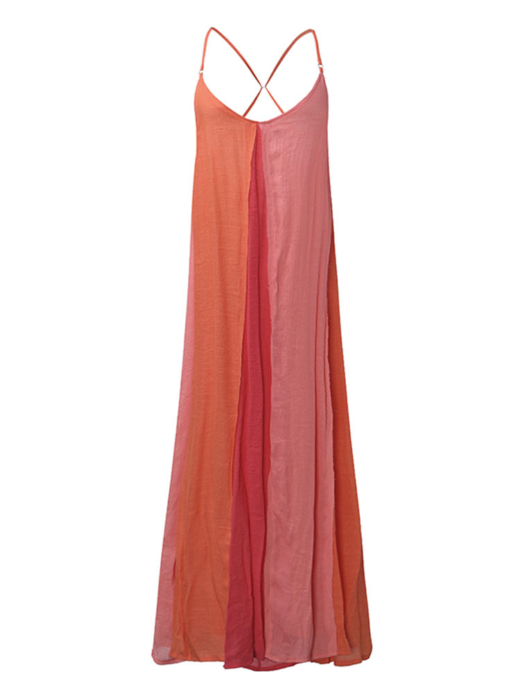 Sexy Spaghetti Strap Backless MultiColor Patchwork Low Cut Maxi Dress For Female
