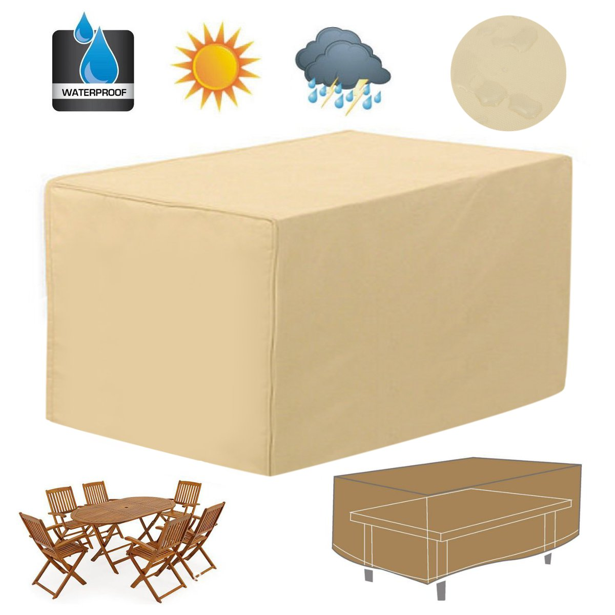 Rectangular Patio Coffee Side Table Cover 48