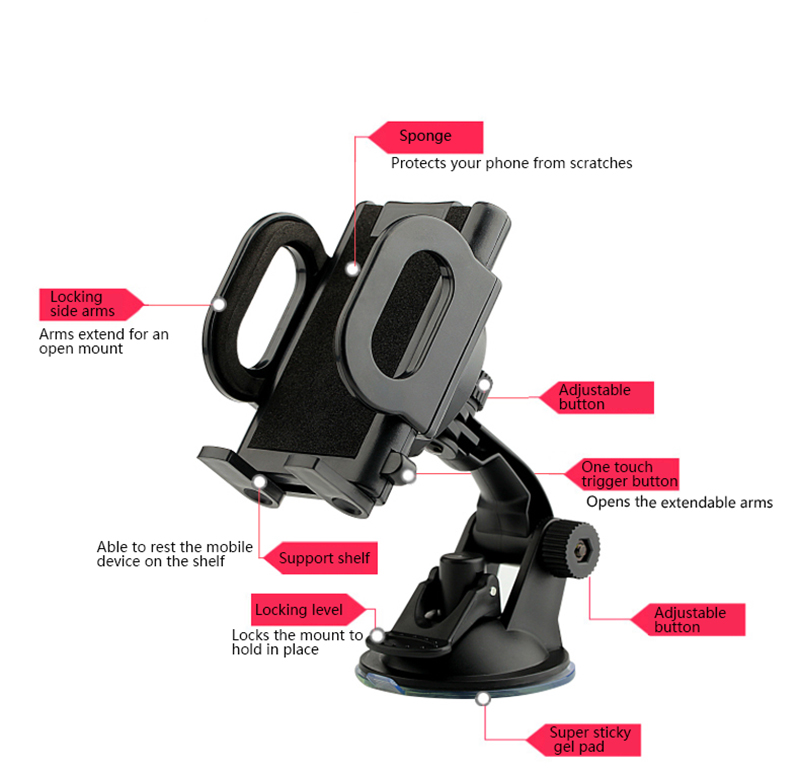 3 in 1 360 Degree Rotation Dashboard Wind Shield Phone Holder Stand for Xiaomi iPhone Mobile Phone