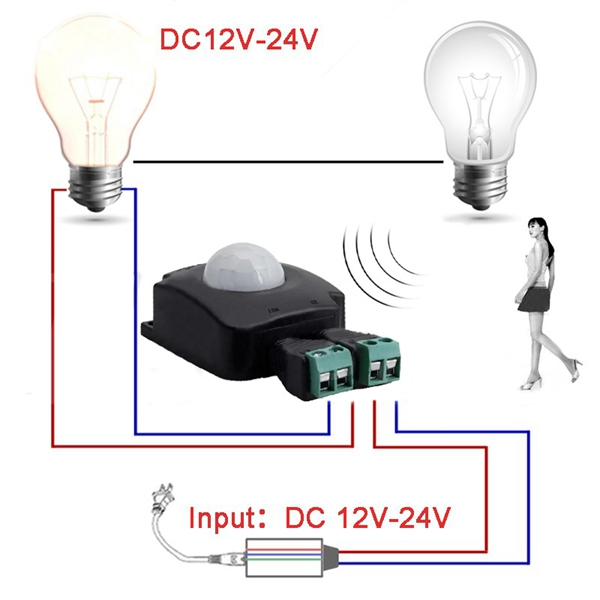 DC12-24V 10A Automatic Infrared PIR Motion Sensor Switch For LED Strip Light