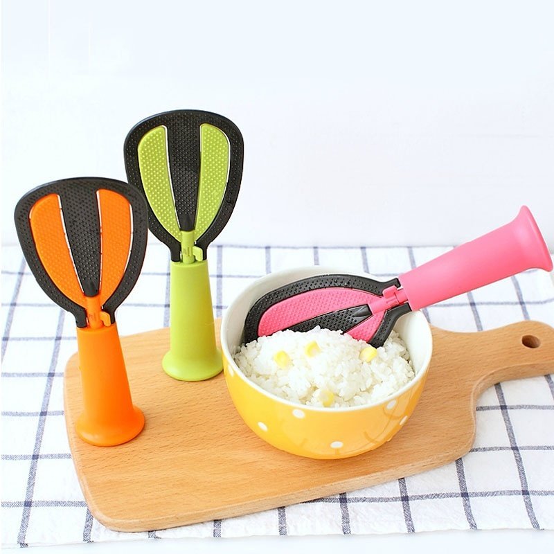 Honana KT-029 Multifunction Food Spoon Practical Vertical Non-stick Spoon Egg Whisk Wash Rice Sieve Creative Spoon Kitchen Tool