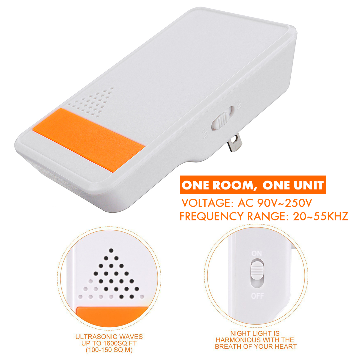 2x Electronic Ultrasonic Pest Repeller Mosquito Cockroach Mouse Killer Animal Repeller