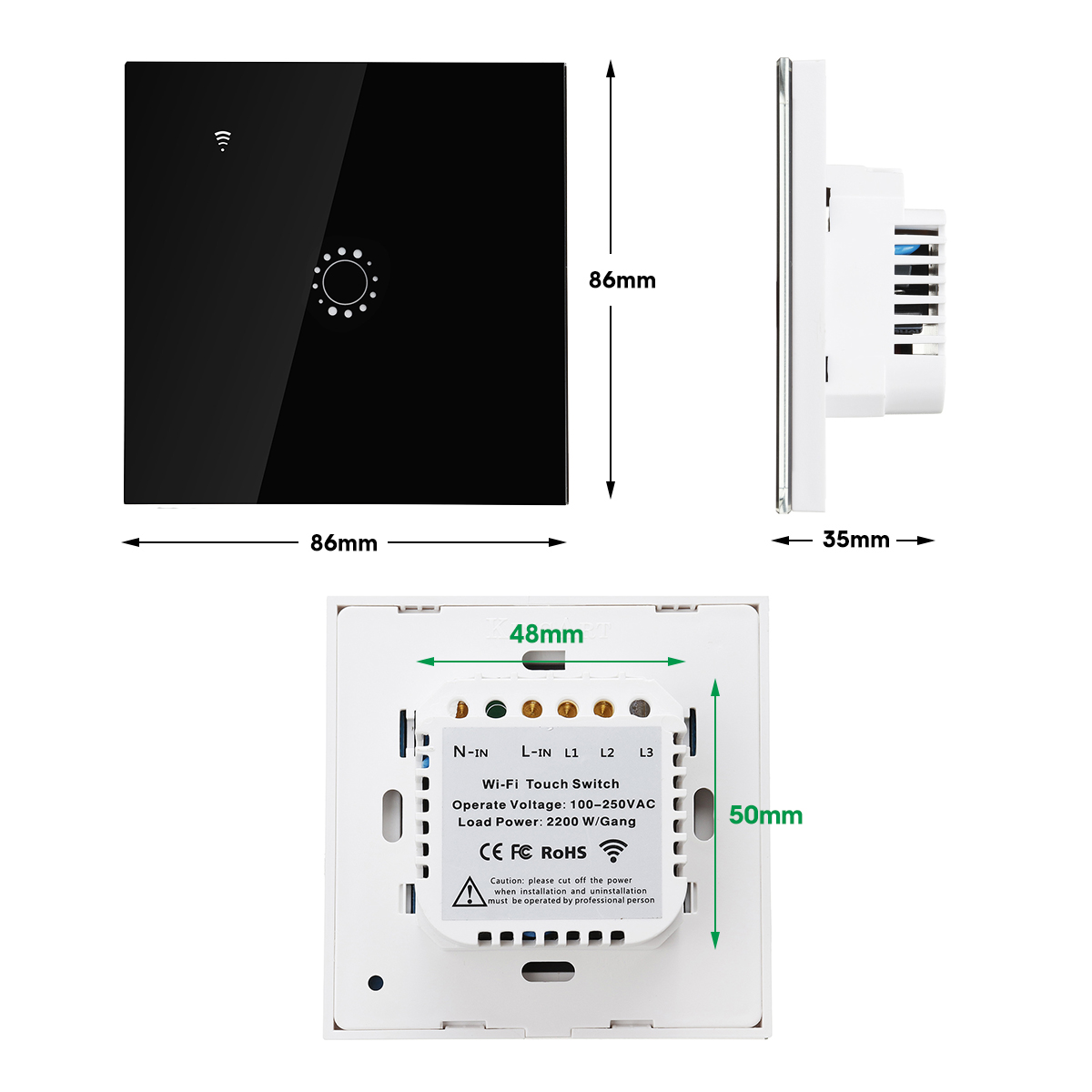 250V 10A 1/2/3 Gang Smart WiFi Touch Light Switch RF APP Remote Control Socket