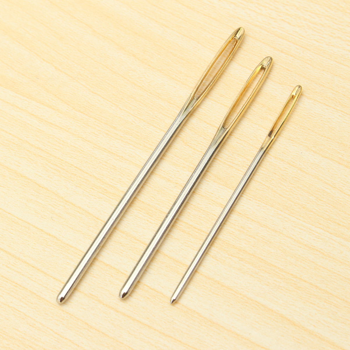 18Pcs 3 sizes Large Knitting Sewing Needles Gold Eye Needle Embroidery Tapestry DIY Tools