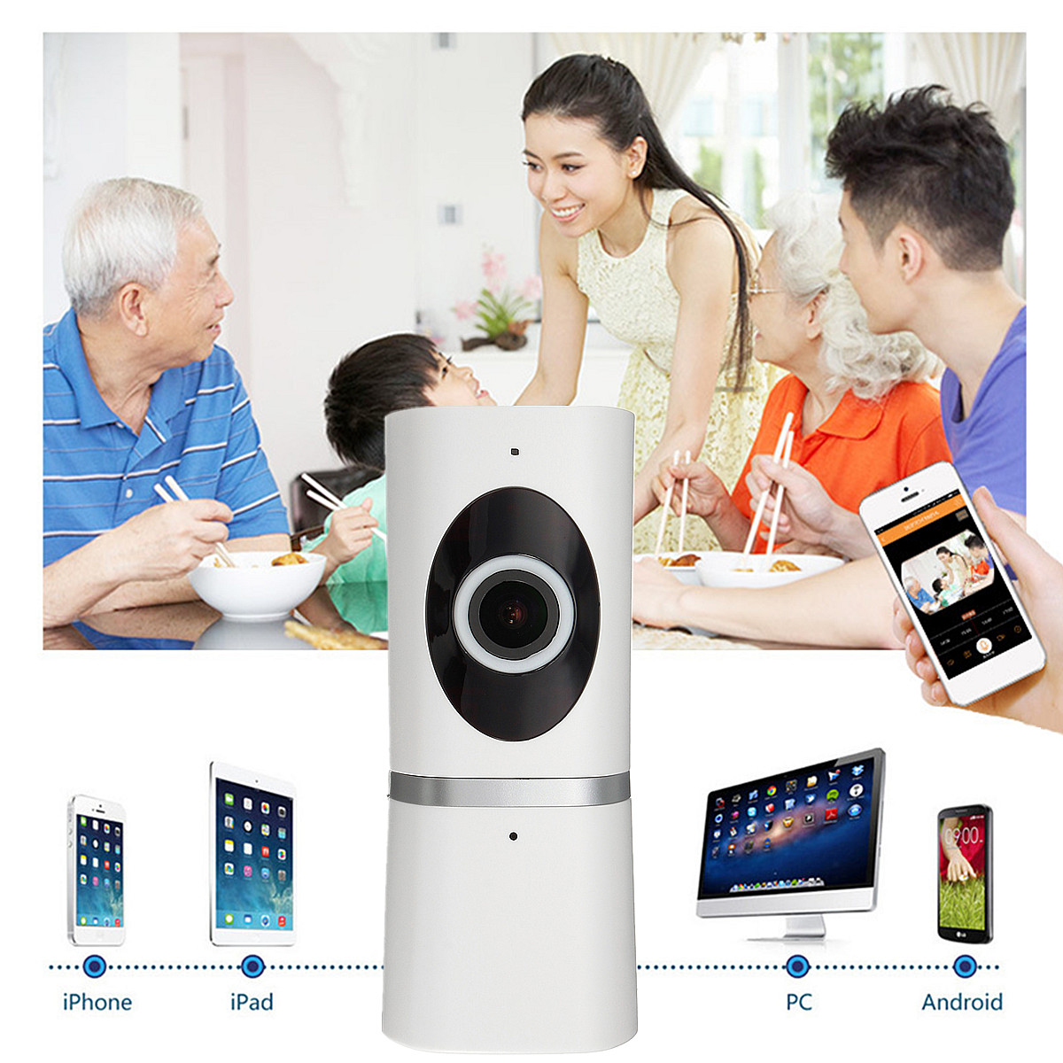 Wireless HD 720P Fisheye IP Camera Night Vision Security Home Security Baby Monitor for Cell Phone