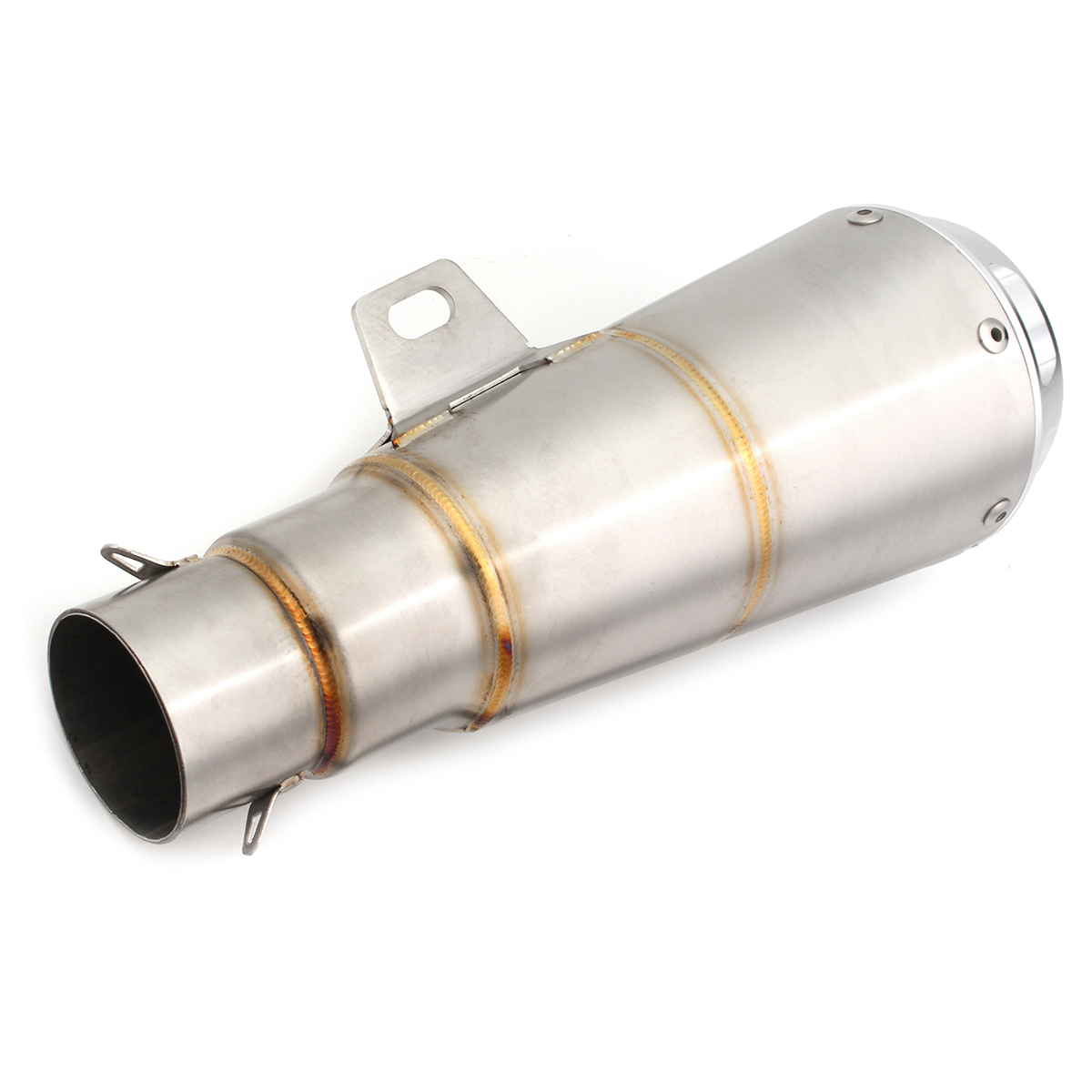 38-51mm Flat/ Round Outlet Stainless Steel Motorcycle Exhaust Muffler Pipe Tip with Silencer