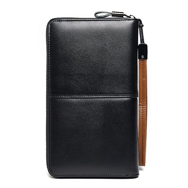 Men Retro Genuine Leather 6 Inch Phone Bag Clutch Bag Wallet