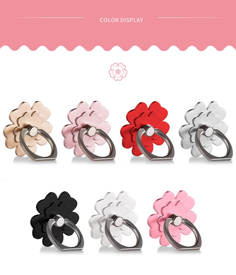 Universal Lucky Clover 360 Degree Rotation Metal Finger Ring Phone Holder for iPhone Samsung Xiaomi