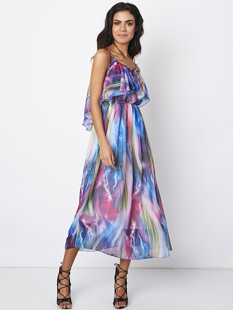 Bohemian Sleeveless Strap Printed Chiffon Maxi Dress For Women