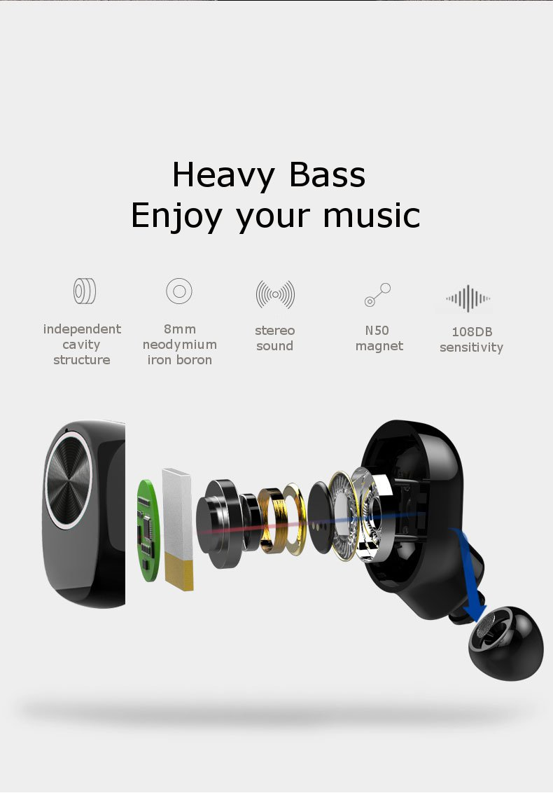 [Truly Wireless] V7 Bluetooth Earphone Invisible Stereo Waterproof Lightweight With Charging Box 15