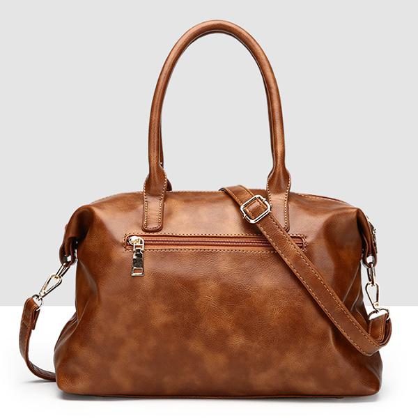 Vintage Zipper PU Leather Handbag Shoulder Bag