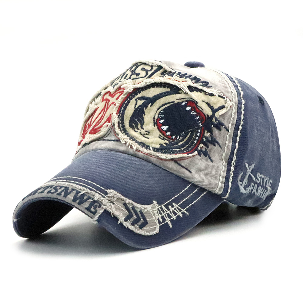 Men Outdoor Washed Embroidery Baseball Cap