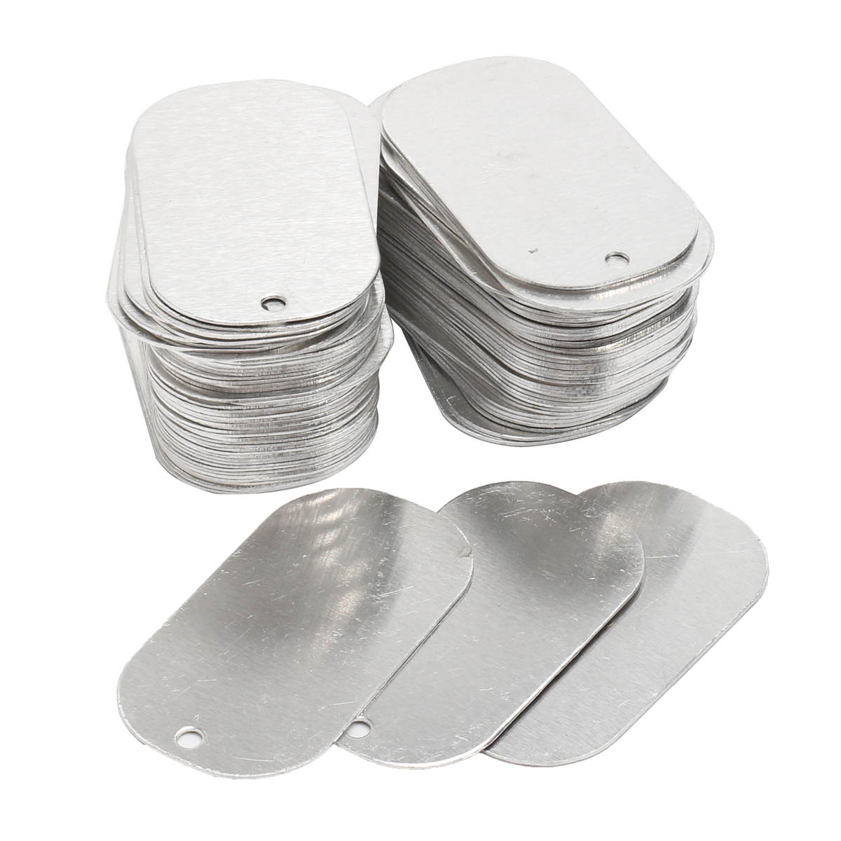 100Pcs Blank Dog Tag Aluminum Silver Gloss with Hole for Animal