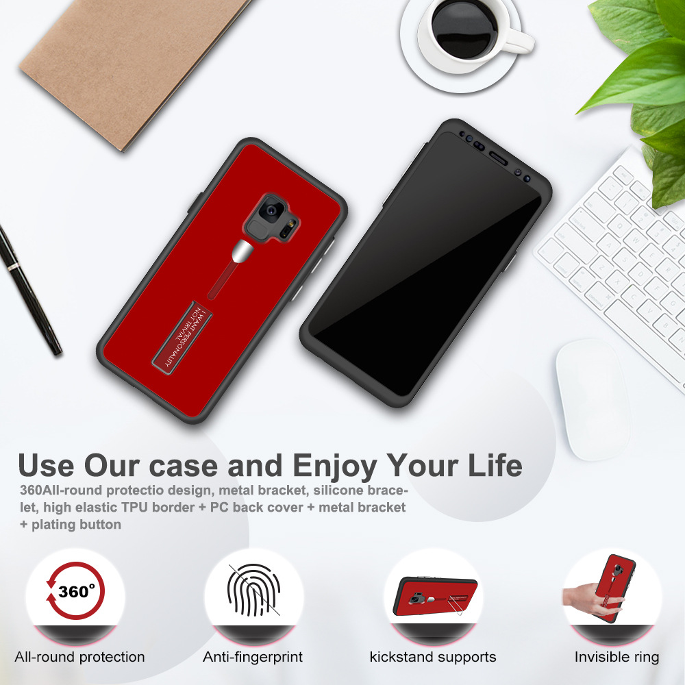 Bakeey Full Body Front & Back Cover Strap Grip Kickstand Case For Samsung Galaxy S8/S8 Plus