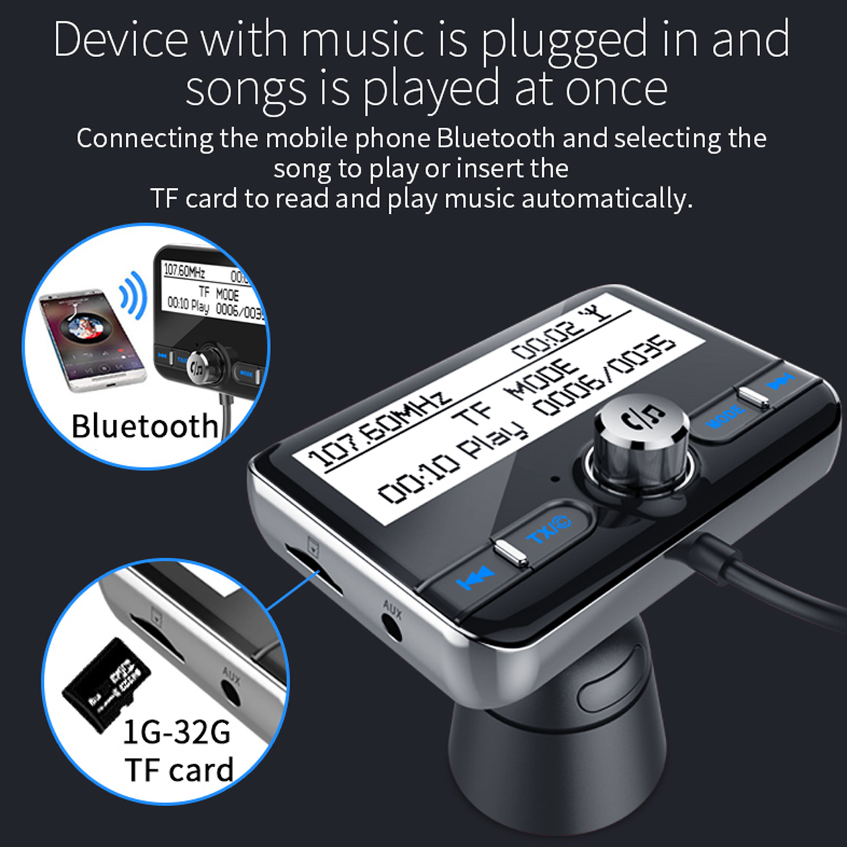Car DAB Digital Charger FM bluetooth Handsfree Transmitter Dual USB