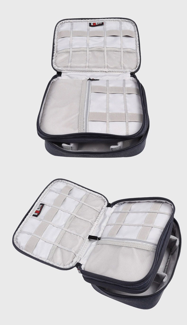 BUBM DPS-S Double Layer Electronics Accessories Cable Organizer Data Cable Storage Bag Carry Case