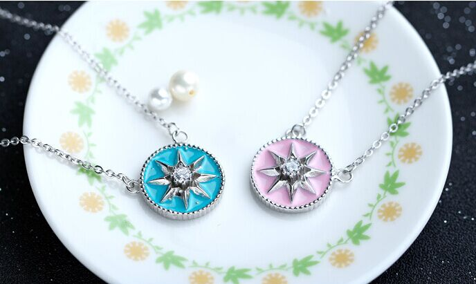 Women 925 Sterling Silver Enamels Pendant Clavicle Necklace Jewelry